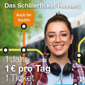 Grafik Schülerticket Hessen - 1 Jahr 1 Euro pro Tag 1 Ticket